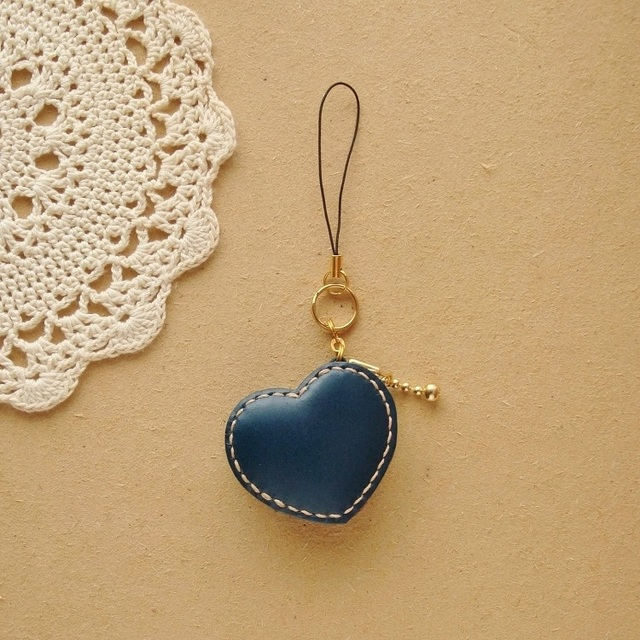miniコインケース*ハート レトロな青レザー/ヌメ革