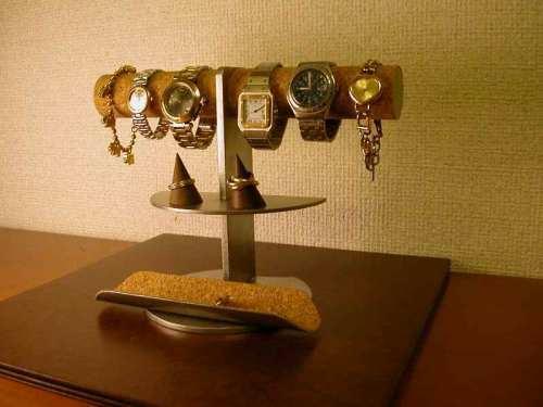 4〜6本掛け腕時計ディスプレイスタンド トレイ付き
