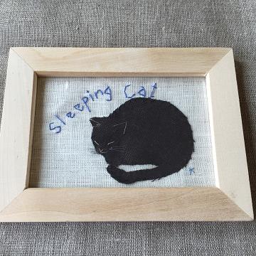 猫刺繍イラスト額入り『Sleeping cat』