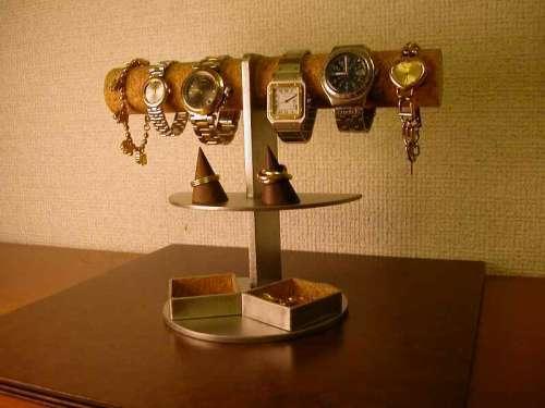 4〜6本掛け腕時計ディスプレイスタンド 角トレイ付き