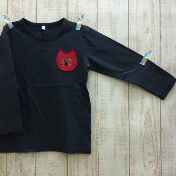 ◆110cmネコチャン長袖T☆ブラック◆