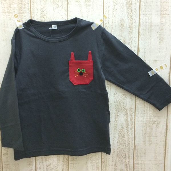 100cm◆ネコチャンポケット長袖T☆ブラック◆