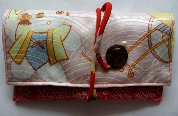 着物リメイク 絞りと産着で作った和風財布 1553