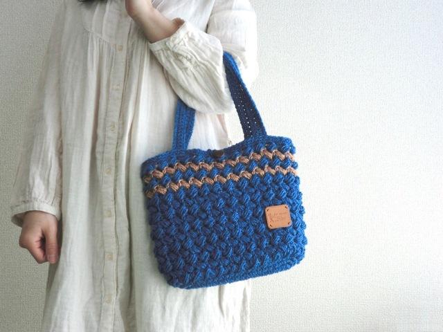 【送料無料】 ポコポコ玉編みのやわらかバッグ