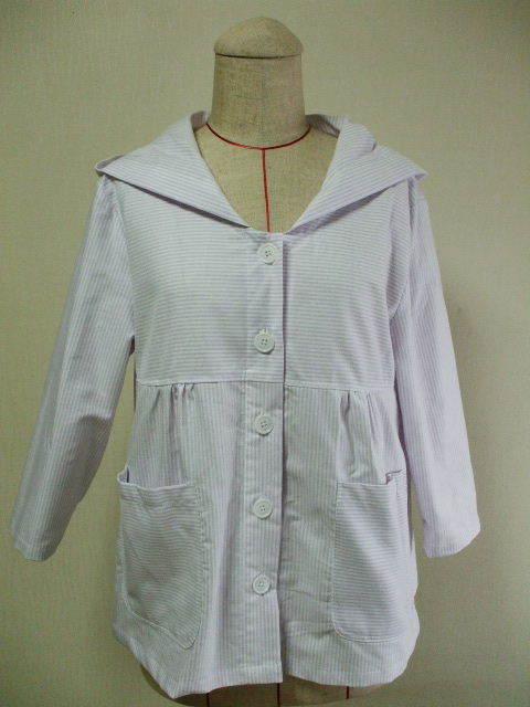 パーカー7分丈袖コート M~Lサイズ 綿、ポリエステル素材 白×薄いムラサキストライプ柄 受注生産