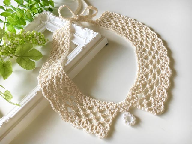 手編みコットンレースの付け襟風ネックレス【再販】