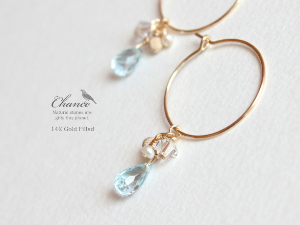 Chance 14KGF ピアス/トパーズAAA