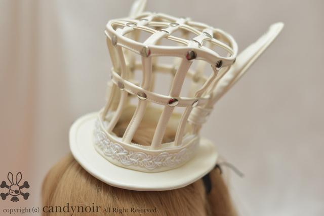 ウサミミ・バードケージ(鳥かご)・ミニハット 白