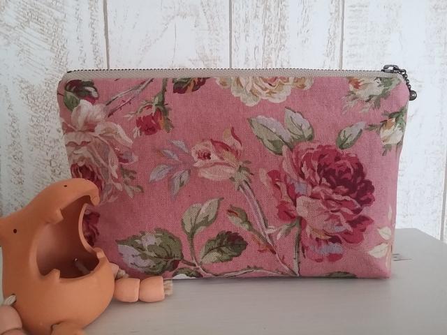 花柄ポーチ(バラ、ピンク)