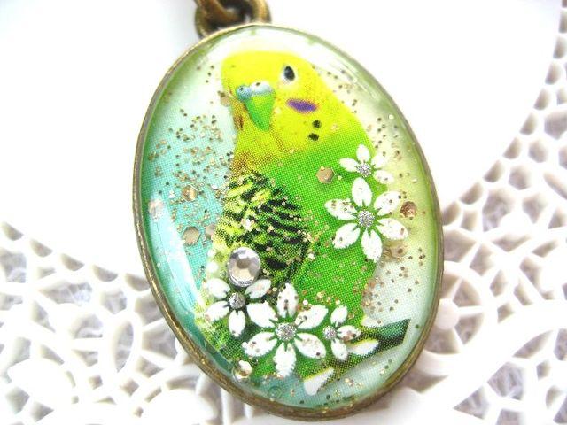 緑セキセイインコとお花のストラップ_441 s2 19p
