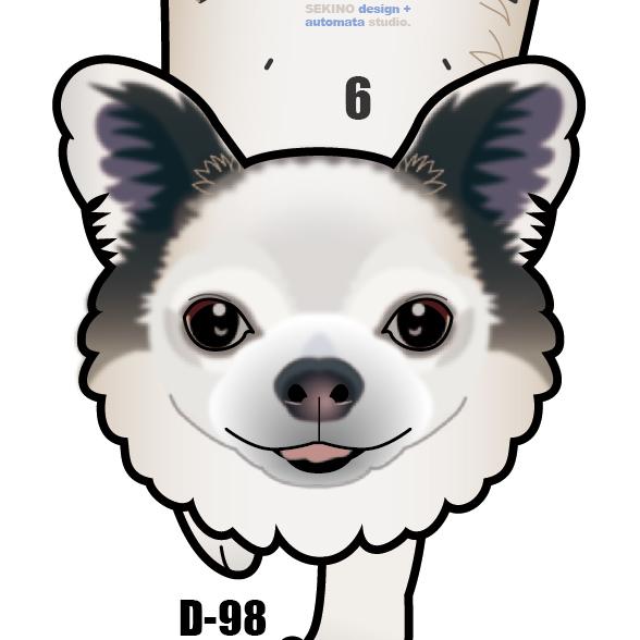D-98 チワワ(口開き)-犬の振り子時計