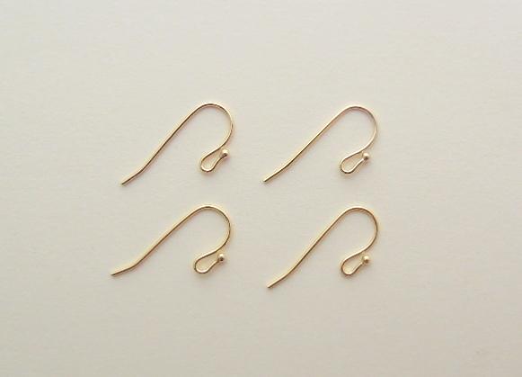 真鍮製 ピアスフック パーツ 2ペア