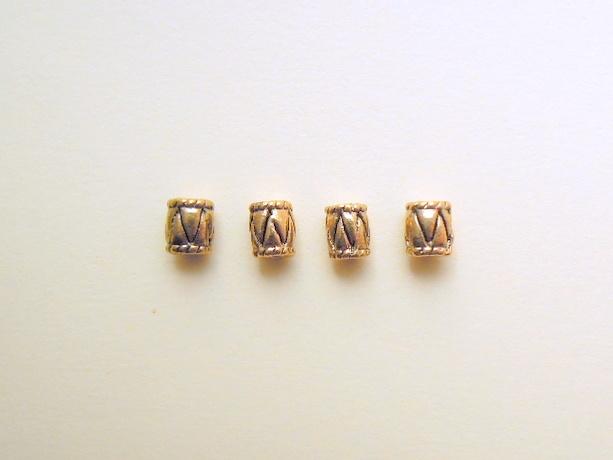 チューブ型金属パーツ(ゴールド) 4個セット
