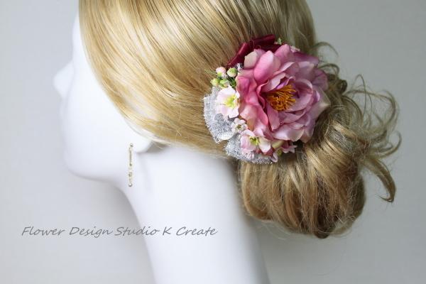 モーブピンクな薔薇のヘッドドレス