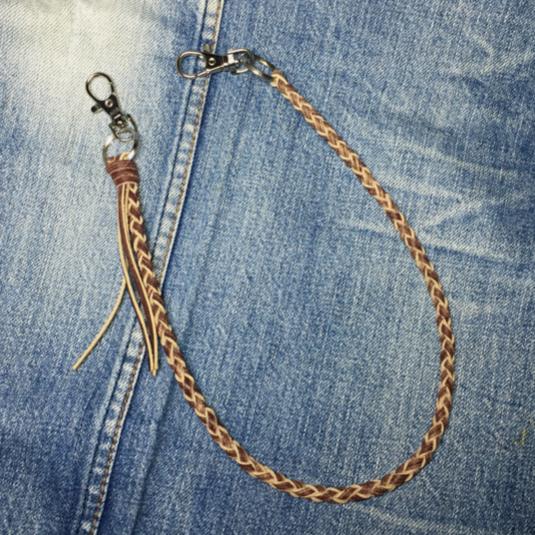 革紐編み込みウォレットロープ 4つ編み 茶 ユーズドルック