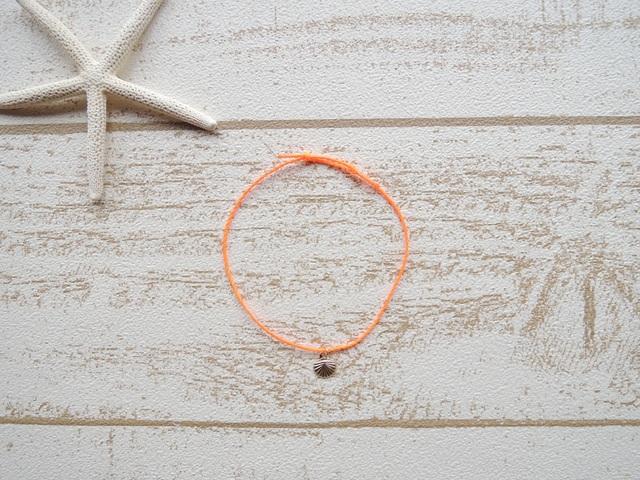 14kgf ワックスコード ブレスレット Neon Orange Shell