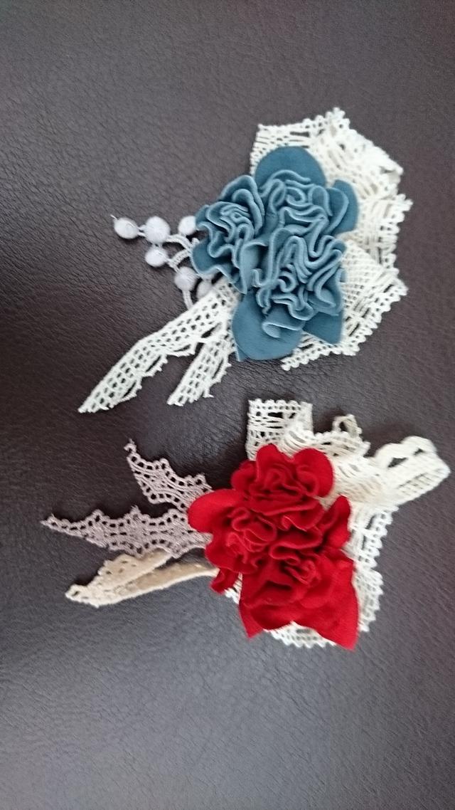 革花とレースのコサージュブローチピン ヘアクリップ ネックレス