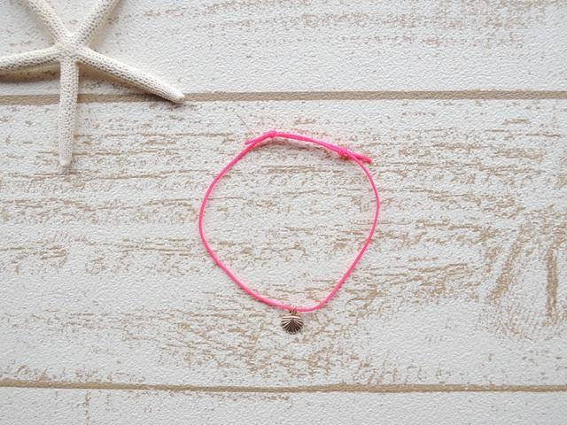 14kgf ワックスコード ブレスレット Neon Pink Shell
