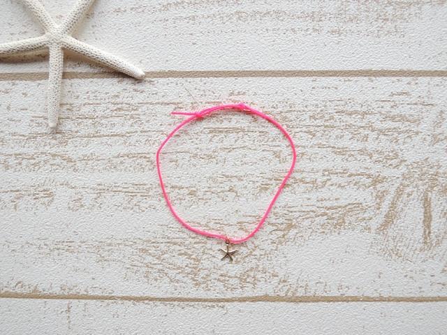 14kgf ワックスコード ブレスレット Neon Pink Star Fish