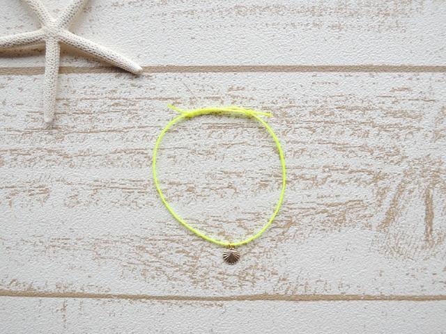 14kgf ワックスコード ブレスレット Neon Yellow Shell