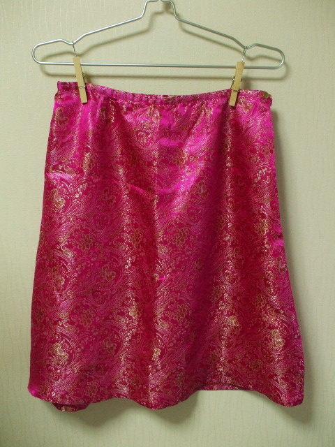 チャイナ生地裏地付きAラインスカート Mサイズ ピンク