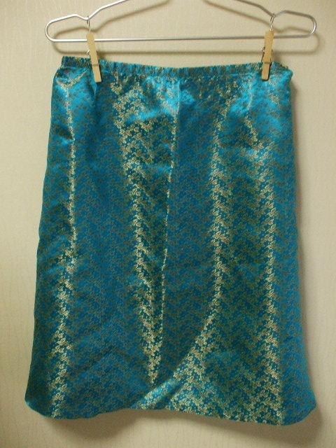 チャイナ生地裏地付きAラインスカート Mサイズ グリーン