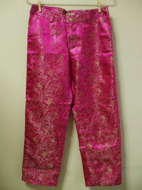チャイナ生地サブリナパンツ Mサイズ ピンク