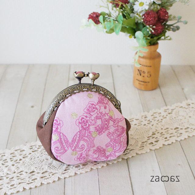 【販売終了】お花がま口コインケース*鏡の中のウサギ姫*ピンク