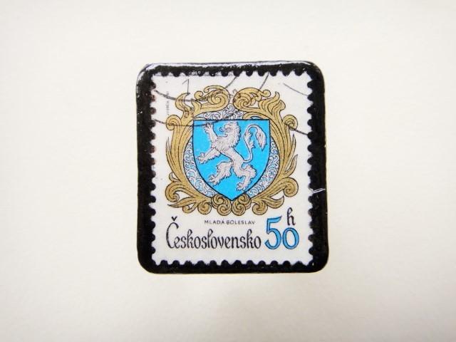チェコスロバキア 紋章切手ブローチ1232