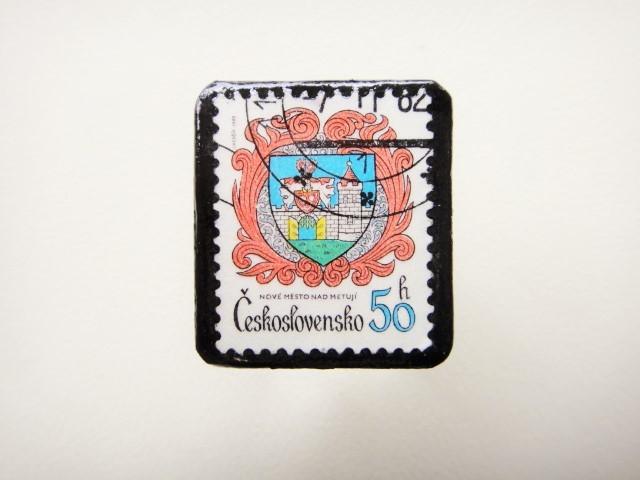 チェコスロバキア 紋章切手ブローチ1233
