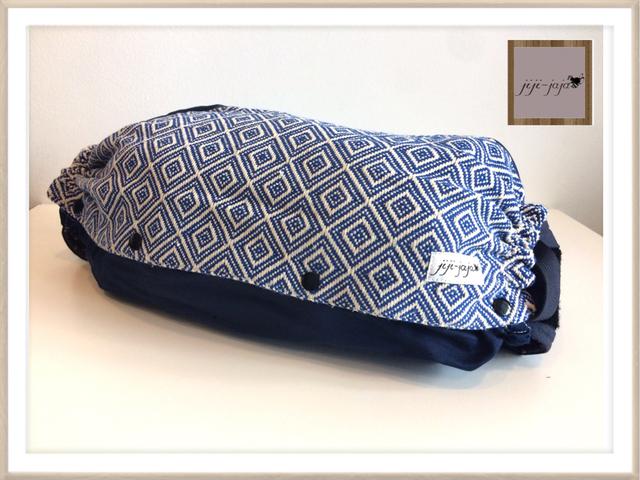 人気【Msize:裏地デニム】上品なネイビーの織り_抱っこ紐収納ケース