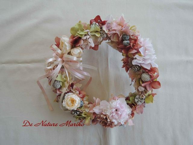フレンチスタイルのふんわりピンクリース