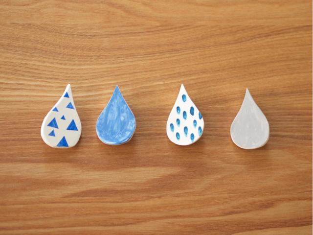[再販] 6月、雨粒のブローチ/大