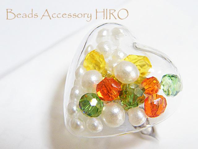指輪☆ハートガラスドーム フリーサイズ