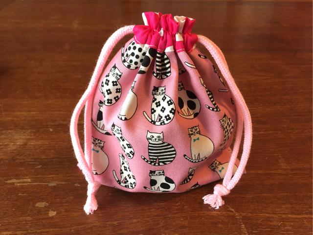 ネコ柄のコップ袋*ピンク