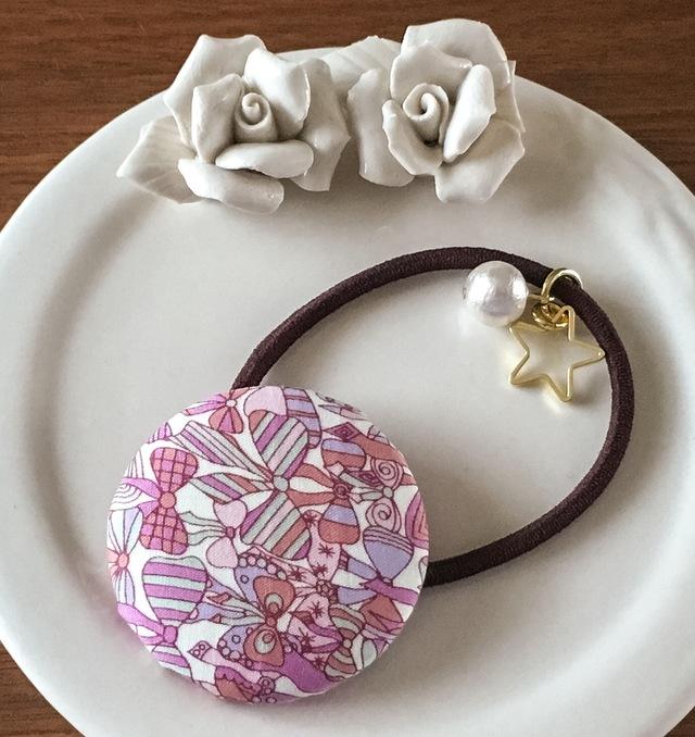 リバティ☆ Jenny's Ribbons くるみボタンヘアゴム シャイニーピンク