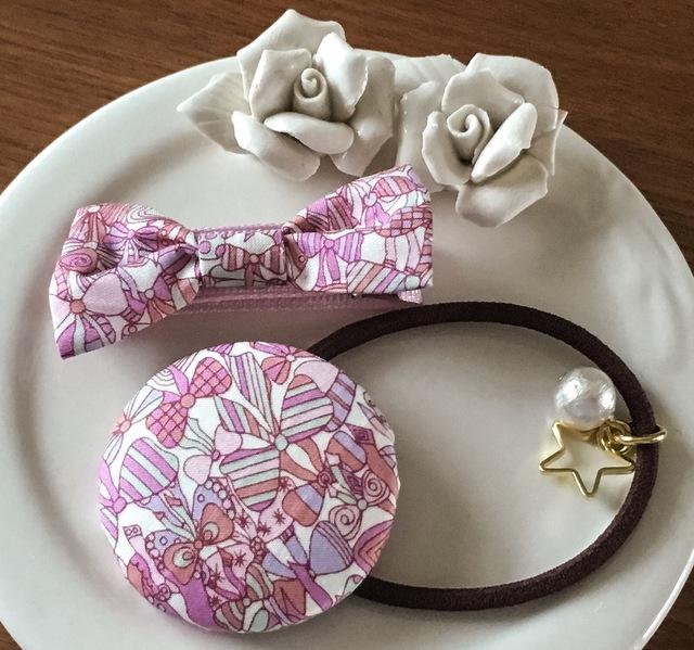 【再販】ママとお揃いリバティ☆ Jenny's Ribbons オシャレセット シャイニーピンク