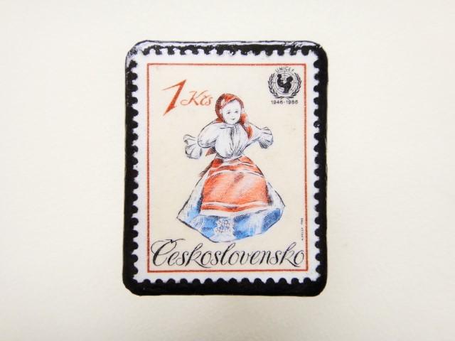 チェコスロバキア 切手ブローチ1239