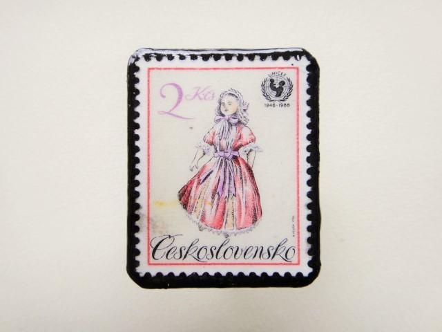 チェコスロバキア 切手ブローチ1240