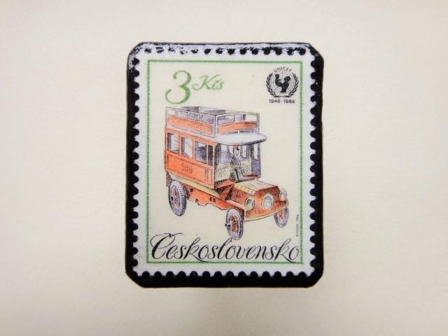 チェコスロバキア 切手ブローチ1241