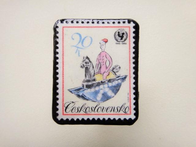 チェコスロバキア 切手ブローチ1243