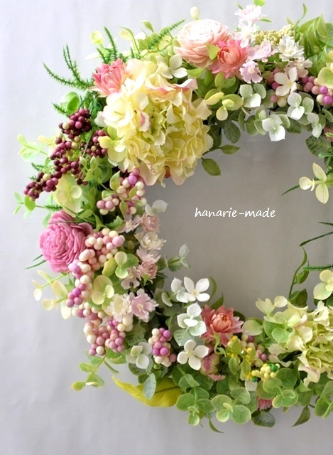 pink berry wreath:peaceful