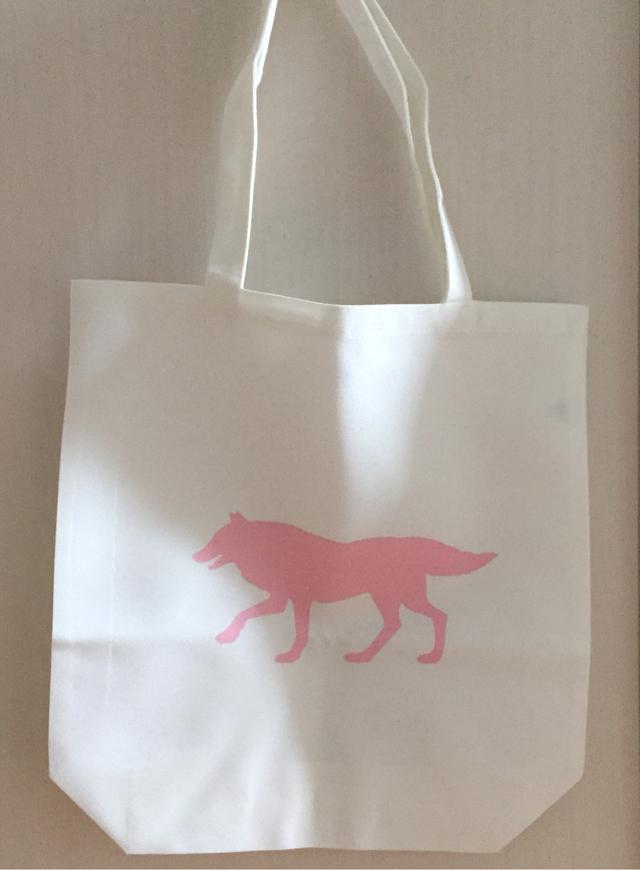 ピンクのオオカミトートバッグ