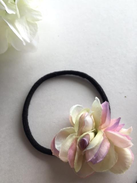 パープルグラデーション紫陽花のヘアゴム