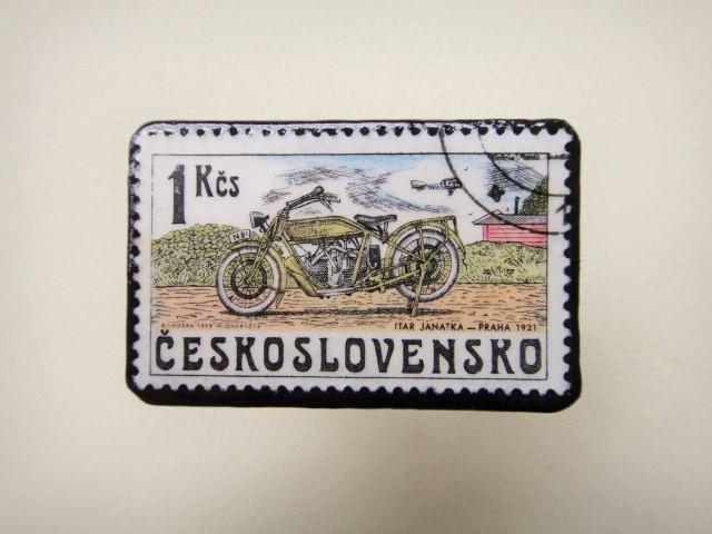 チェコスロバキア 切手ブローチ1262