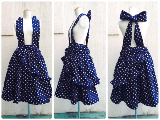 アルペジオスカート(dots) 紺×白ドット