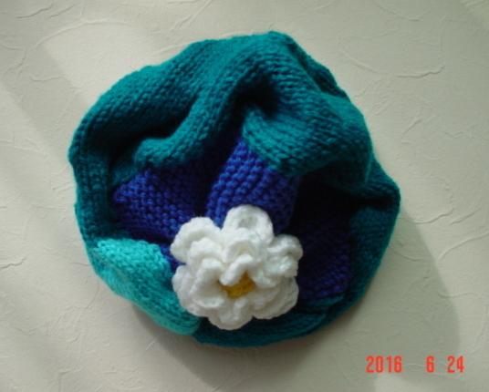 ☆彡巾広ケーブルとお花のアラン模様の帽子(コバルトターコイズ&ハワイアンブルー)