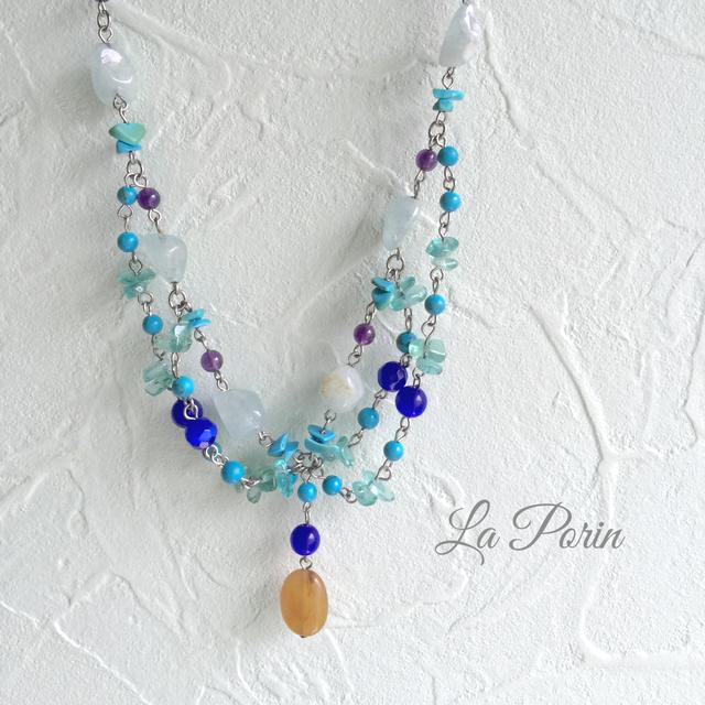 【一点物】青い天然石のネックレス