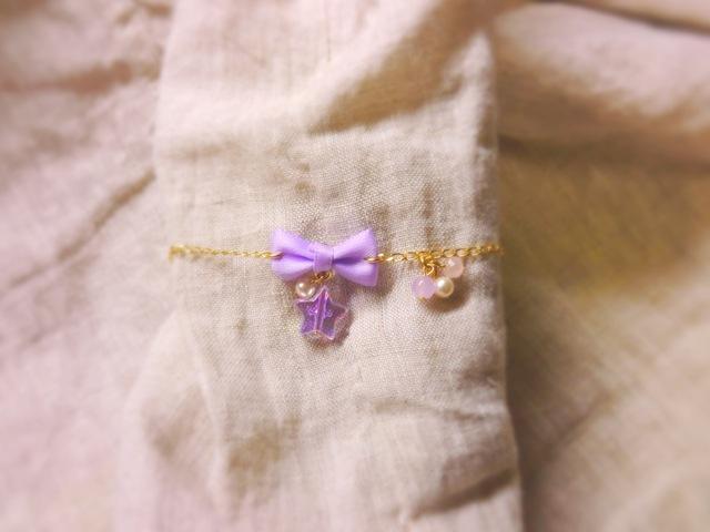 twinkle ribbon star ブレスレット(violet)