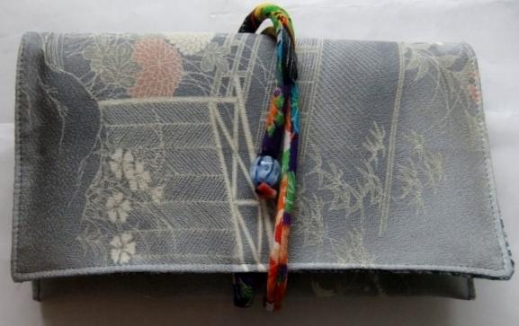 着物リメイク 花柄の訪問着で作った和風財布 1564